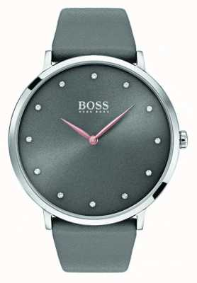 Hugo Boss Cuero gris del reloj del jillian de Womans 1502413