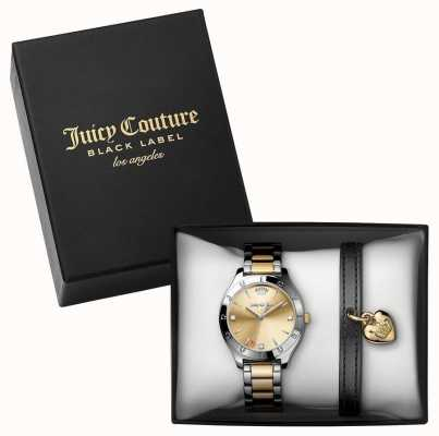 Juicy Couture Reloj de dos tonos Womans y conjunto de regalo de pulsera negro 1950012