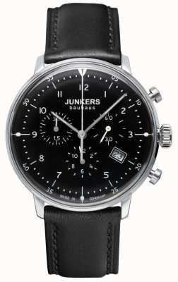 Junkers Mens bauhaus cronógrafo negro correa de cuero negro 6086-2