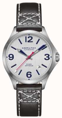 Hamilton Caqui aire raza cuero negro 38mm H76225751