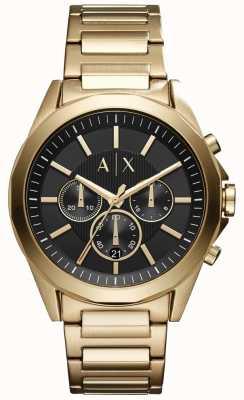 Armani Exchange Mens cronógrafo de acero inoxidable dial negro AX2611