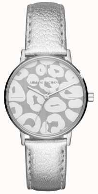 Armani Exchange Womens lola plata correa de cuero caja de acero inoxidable AX5539