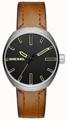 Diesel Correa de cuero marrón klutch para hombre DZ1831