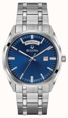 Bulova Mens clásico de acero inoxidable pulsera azul dial 96C125