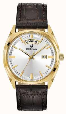 Bulova Tono de oro clásico para hombre con correa de cuero 97C106