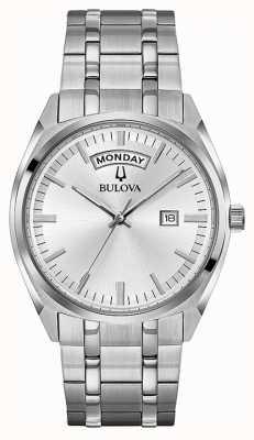 Bulova Hombres clásico de acero inoxidable pulsera esfera de plata 96C127
