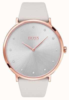 Hugo Boss Womens jillian rosa tono de oro caja plateada cuero gris 1502412
