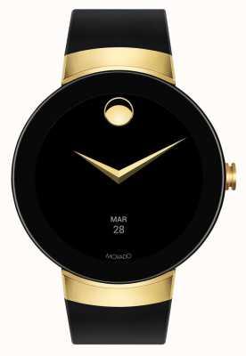 Movado Conecte la pulsera dorada de silicona negra con reloj inteligente 3660014