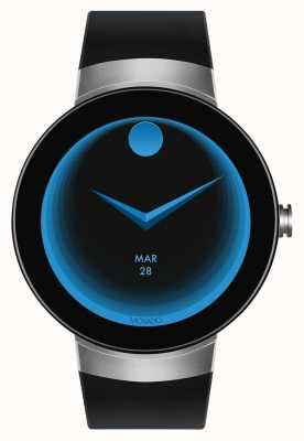 Movado Conecte la pulsera de silicona negra plateada smartwatch 3660016