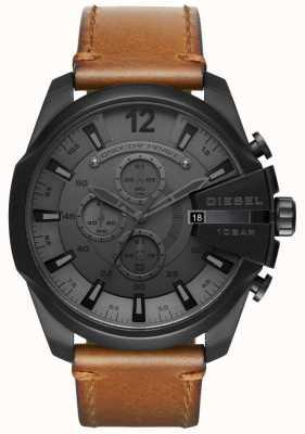 Diesel Reloj mega jefe para hombre esfera negra correa de cuero marrón DZ4463
