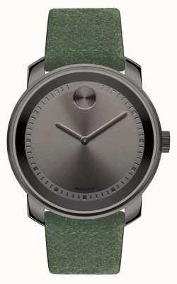 Movado Unisex gran zafiro gris oscuro plateado ante verde 3600448