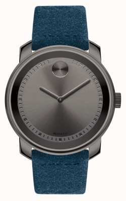 Movado Unisex gran zafiro gris grueso plateado ante azul 3600454