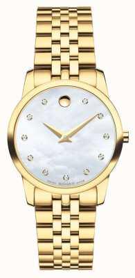 Movado Reloj de oro de diamante del diamante del museo de Womans 0606998