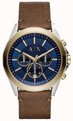 Armani Exchange Mens azul cronógrafo marrón correa de cuero AX2612