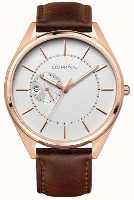Bering Correa automática de cuero marrón para hombre 16243-564