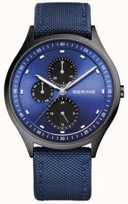 Bering Mens ultra ligero titanio cronógrafo nylon azul 11741-827