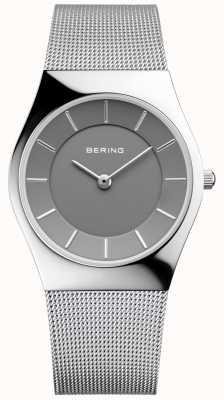 Bering Womans clásico redondo de plata milanesa correa 11936-309