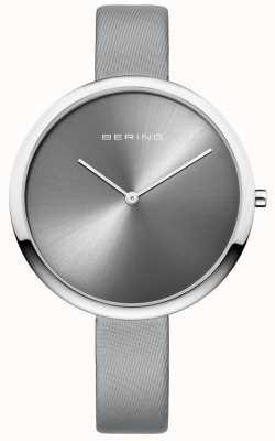 Bering Womans clásico de cuero satinado correa de plata reloj sunray 12240-609