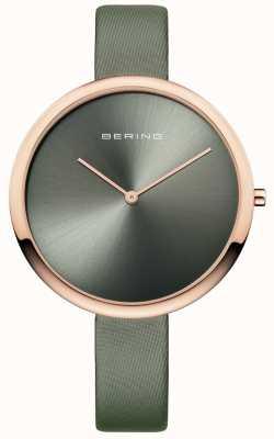 Bering Womans clásico satén correa de cuero sunray dial verde 12240-667