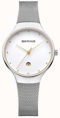 Bering Correa de plata milanesa de la fecha de la mujer clásica 13326-001