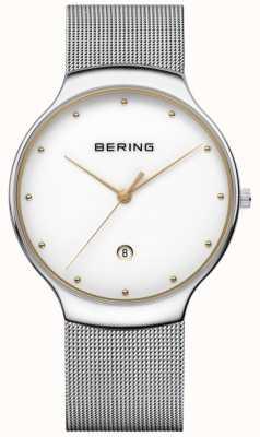 Bering Correa de plata milanesa de la fecha de los hombres clásicos 13338-001