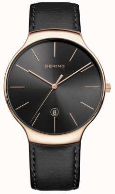 Bering Correa de cuero negra de la fecha de la fecha de los hombres 13338-462