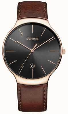 Bering Correa de cuero marrón de la fecha de los hombres clásicos 13338-562