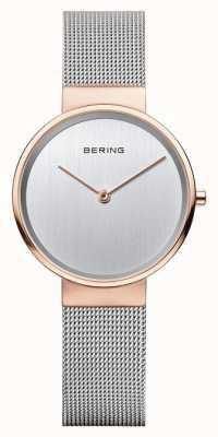 Bering Womans clásico de plata milanesa correa rosa caja de oro 14531-060