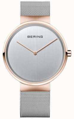 Bering Unisex clásico de plata milanesa correa con caja de oro rosa 14539-060
