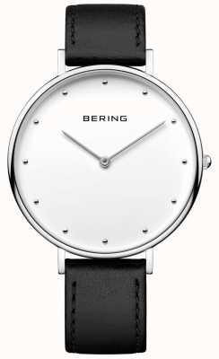 Bering Reloj de pulsera de cuero negro clásico unisex 14839-404