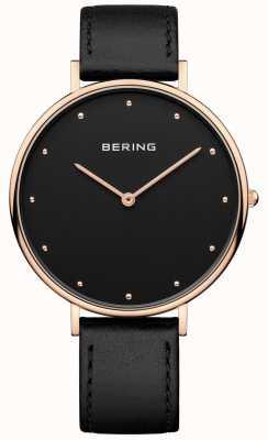 Bering Reloj de cuero negro clásico de la correa de la mujer 14839-462
