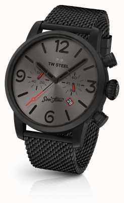 TW Steel Mens hijo de tiempo eon 48mm chrono malla negra y cuero MST4