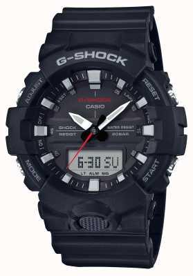 Casio Mens g-shock alarma crono correa de caucho negro GA-800-1AER