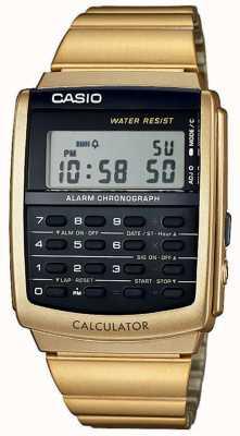 Casio Alarma unisex cronógrafo dorado calculadora alarma crono CA-506G-9AEF