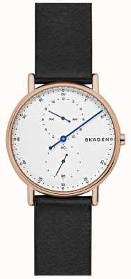 Skagen Mens signatur correa de cuero negro SKW6390