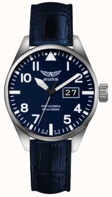 Aviator Mens airacobra p42 correa de cuero azul esfera azul V.1.22.0.149.4