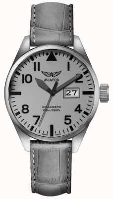 Aviator Hombres airacobra p42 gris correa de cuero gris dial V.1.22.0.150.4