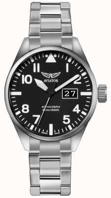 Aviator Hombres airacobra p42 acero inoxidable pulsera de acero negro dial V.1.22.0.148.5