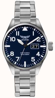 Aviator Hombres airacobra p42 acero inoxidable pulsera de acero azul esfera V.1.22.0.149.5