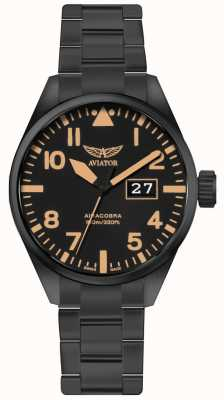 Aviator Hombres airacobra p42 negro pvd plateado pulsera dial negro V.1.22.5.157.5