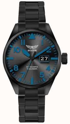 Aviator Hombres airacobra p42 negro pvd plateado pulsera dial negro V.1.22.5.188.5
