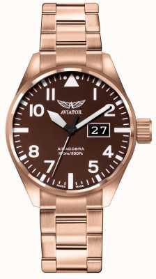 Aviator Hombres airacobra p42 marrón pvd plateado pulsera marrón dial V.1.22.2.151.5
