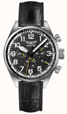 Aviator Mens airacobra p45 chrono correa de cuero negro esfera negra V.2.25.0.169.4