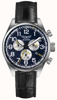 Aviator Mens airacobra p45 chrono correa de cuero negro esfera azul V.2.25.0.170.4