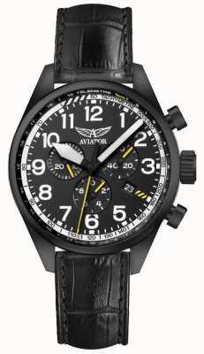 Aviator Mens airacobra p45 chrono correa de cuero negro esfera negra V.2.25.5.169.4