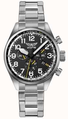 Aviator Mens airacobra p45 chrono pulsera de acero inoxidable negro dia V.2.25.0.169.5