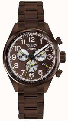 Aviator Hombres airacobra p45 crono bronce pvd pulsera marrón dial V.2.25.8.172.5