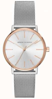 Armani Exchange Reloj de pulsera de malla de acero inoxidable de Womans AX5537