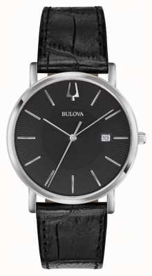 Bulova Cuero negro clásico para hombre 96B283