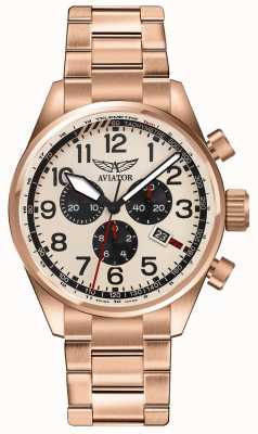 Aviator Mens airacobra p45 crono oro rosa esfera crema V.2.25.2.173.5